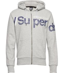 core split logo zip hood ub hoodie trui grijs superdry