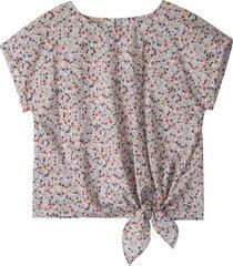 blouseshirt met verfijnde bloemenprint, wit-bedrukt 42