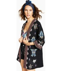 inc cotton embroidered open-front jacket, created for macy's