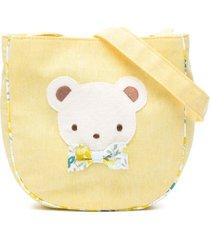 familiar teddy bear-appliqué shoulder bag - yellow
