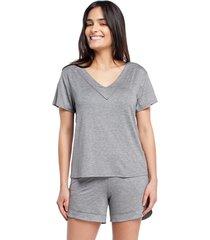 pijama feminino curto com manga curta mescla - cinza - feminino - viscose - dafiti