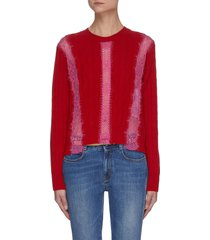 lace trim cable-knit wool sweater