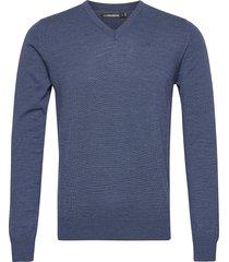 lymann merino v-neck sweater gebreide trui v-hals blauw j. lindeberg
