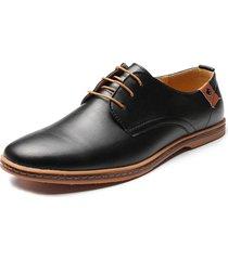 uomo casual scarpe basse oxford di stile britannico e europeo con lacci in tinta unita a grande taglia