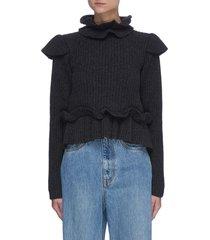 ruffle detail rib knit crop sweater