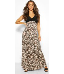 2in1 wrap neck leopard print maxi dress, multi