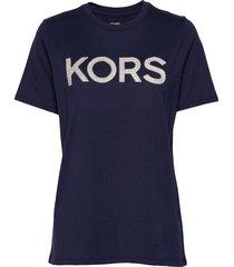 kors stud smrcamp tee t-shirts & tops short-sleeved blå michael kors