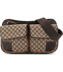 céline pre-owned pre-owned macadam pattern waist pouch bum bag - brown