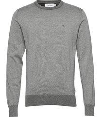 cotton silk c-neck sweater stickad tröja m. rund krage grå calvin klein