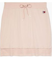 tommy hilfiger women's essential mesh hem skirt rose water - m