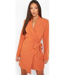 tall geweven geplooide blazer jurk met zijstrik, orange