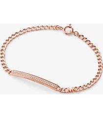 mk bracciale con placca in pavé e maglie a catena in argento sterling placcato in metallo prezioso - oro rosa (oro rosa) - michael kors