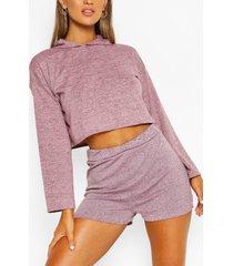 soft melange hoodie & short lounge set, pink