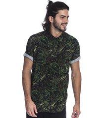 camisa long island folhagens masculina