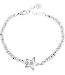 bracciale stella in acciaio rodiato e cristalli per donna