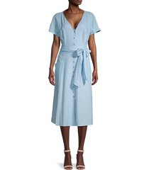 gal meets glam women's button-down linen-blend dress - sky - size 18