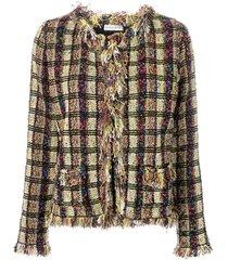 etro tweed-knit cardigan - green
