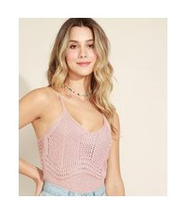 top cropped feminino em tricô decote v alças finas rosê