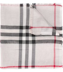 burberry metallic check silk and wool scarf - neutrals