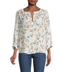 karen kane women's fish-print blouse - white multicolor print - size s