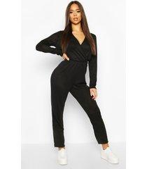soft wrap front lounge jumpsuit, black