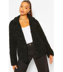 double breasted faux fur teddy coat, black