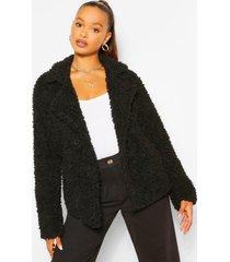 faux fur teddy jas met dubbele knopen, zwart