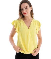 blusa escote cruzado amarillo nicopoly