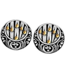 bamboo classic sterling silver earrings embellished by 18k gold accents