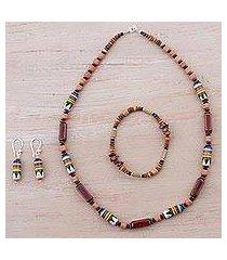 ceramic and stone jewelry set, 'divine energy' (peru)