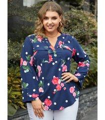 yoins blusa de manga larga con diseño de bolsillo con estampado floral y cuello en v de talla grande