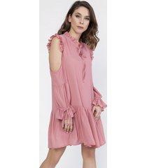 sukienka szyfonowa z wycięciami na rękawach