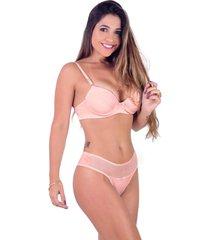 conjunto vip lingerie em microfibra e renda guipir rosa