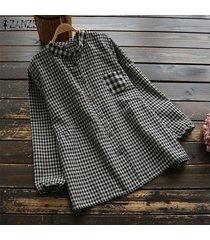 zanzea mujeres casual botones abajo tela escocesa comprobar tapas de la camisa étnica tamaño blusa suelta plus -profundo negro