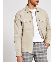 river island mens stone zip front regular fit overshirt jacket