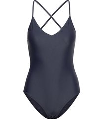 shiny cross back swimsuit baddräkt badkläder blå filippa k