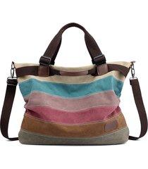 kvky borsa a mano in tela a righe a contrasto di colore borsa a tracolla
