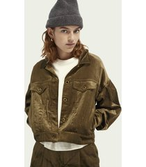 scotch & soda balloon-sleeved corduroy trucker jacket