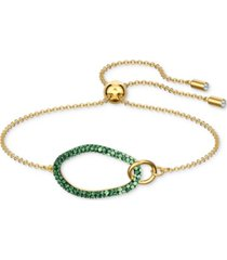 swarovski gold-tone pave oval slider bracelet