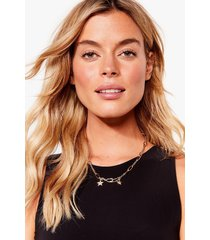 womens star-t the day right link chain necklace - gold