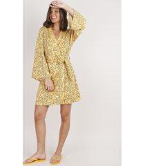 robe feminino estampado de folhagem manga longa mostarda