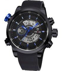 reloj weide 3401 acero inoxidable black blue diseño militar