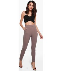 basic crêpe skinny fit stretch broek, mokka