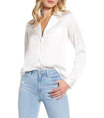 women's paige caprice satin shirt, size large - white