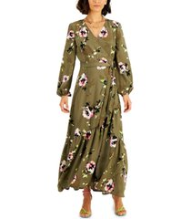 bar iii floral-print belted wrap maxi dress, created for macy's
