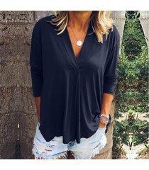 zanzea de mujer de manga larga casual llanura de la blusa floja de gran tamaño de las señoras de las tapas del puente camisa -azul marino