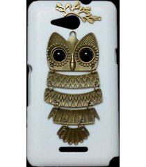 cute retro bronze metal owl branch hard back skin case cover for sony xperia e4g