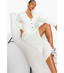 geribbelde gebreide midi jurk met ceintuur, ivory