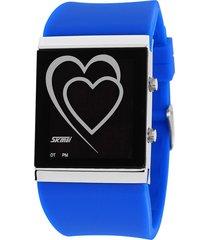 reloj con forma de corazón para hombres y mujeres-azul