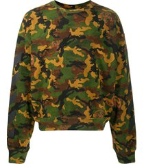 off-white camouflage print crew neck sweatshirt - green